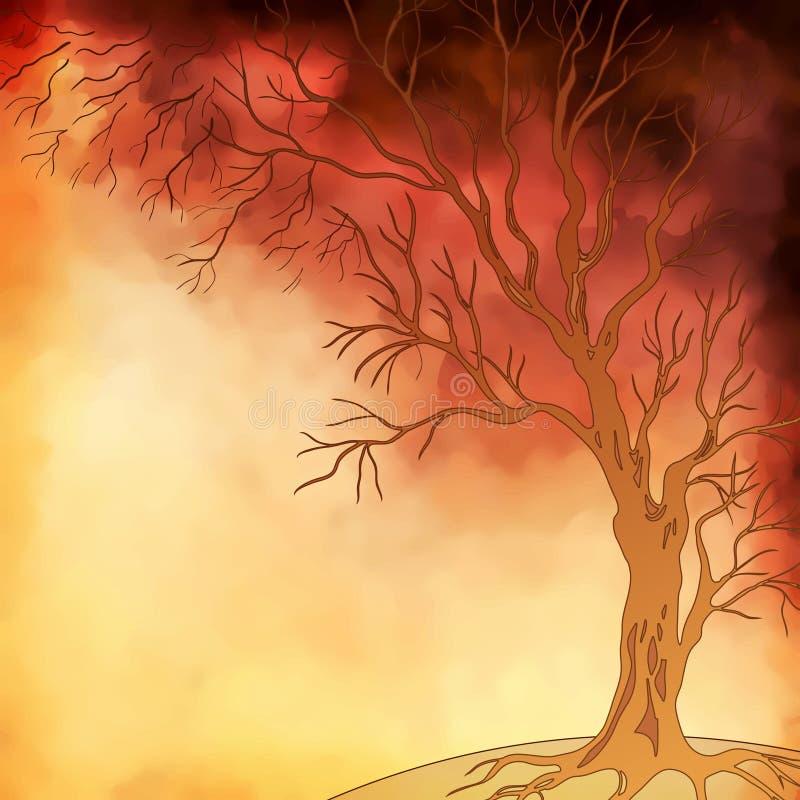 传染媒介水彩绘画秋天树 向量例证