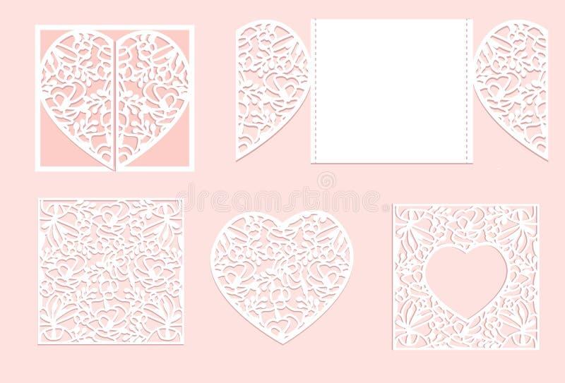 传染媒介心脏纸切口 白色心脏由纸制成 激光裁减传染媒介 向量例证