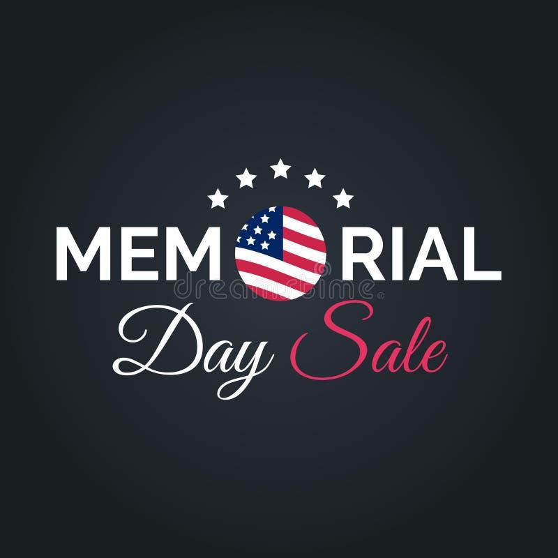传染媒介愉快的阵亡将士纪念日销售卡片 与美国旗子的全国美国假日例证 与字法的折扣海报 向量例证