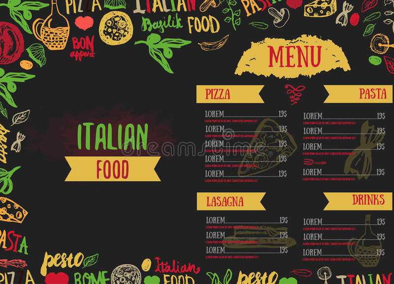 传染媒介意大利菜单传染媒介模板,用各种各样的杂货:面团、菜、薄饼和蘑菇和手拉 皇族释放例证