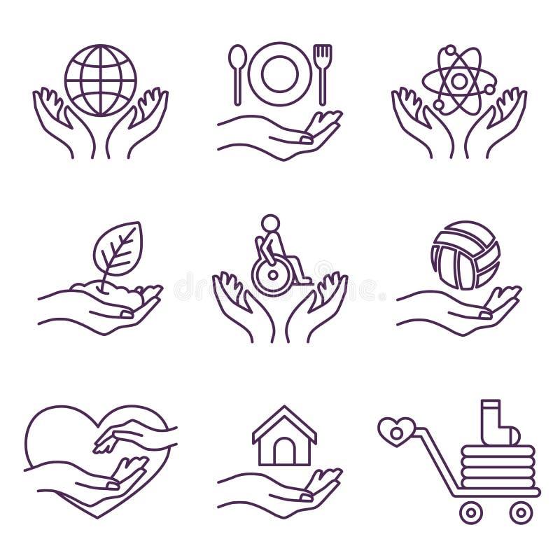 传染媒介慈善线商标和标志志愿者 向量例证