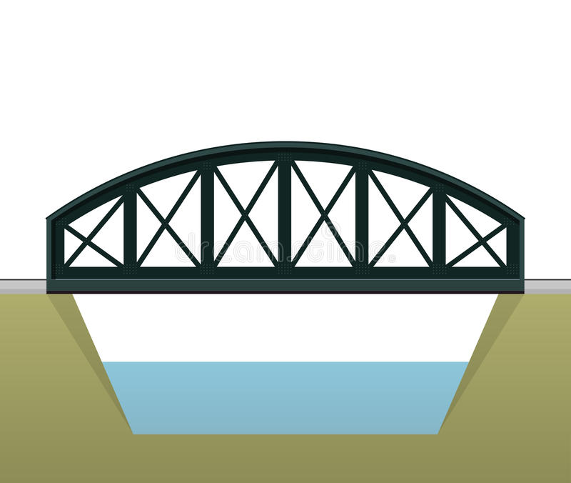 传染媒介成拱形火车桥梁,侧视图,在白色背景 向量例证