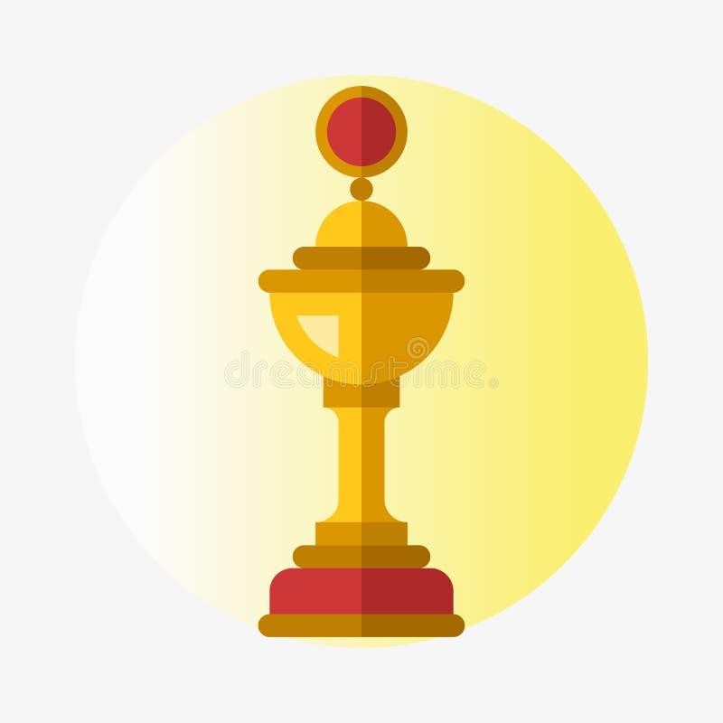 传染媒介战利品冠军杯平的象优胜者金子奖和胜利得奖的体育成功最佳的胜利金黄领导 库存例证
