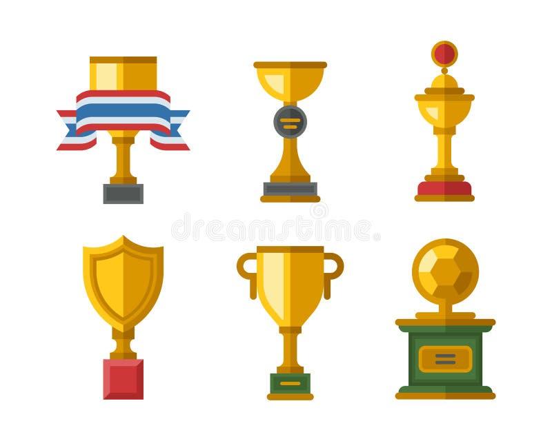 传染媒介战利品冠军杯平的象优胜者金子奖和胜利得奖的体育成功最佳的胜利金黄领导 向量例证