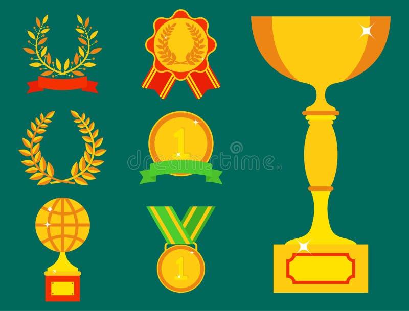 传染媒介战利品冠军杯平的象优胜者金子奖和胜利得奖的体育成功最佳的胜利金黄领导 皇族释放例证