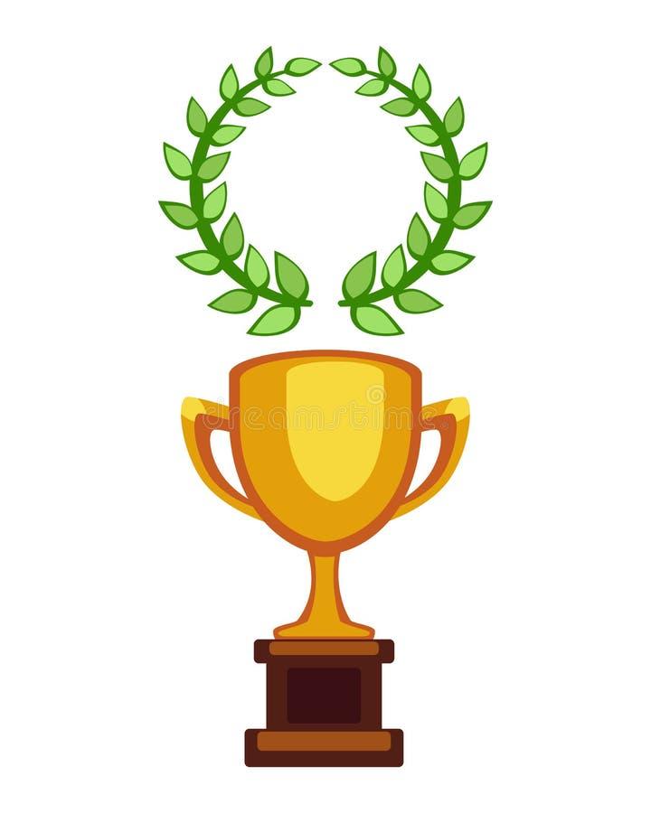 传染媒介战利品冠军杯平的象 优胜者奖和胜利奖 炫耀成功和最佳的胜利金黄领导奖 皇族释放例证