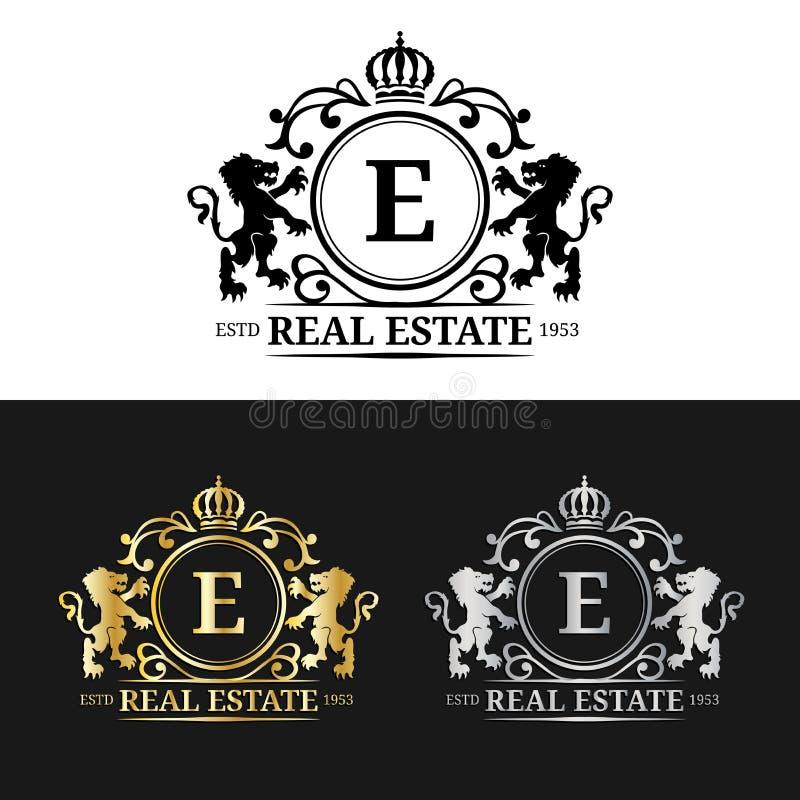 传染媒介房地产组合图案商标模板 豪华书信设计 与冠和狮子标志的优美的葡萄酒字符 库存例证