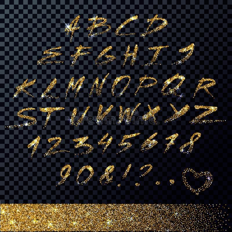 传染媒介手写的金子闪烁字母表 皇族释放例证