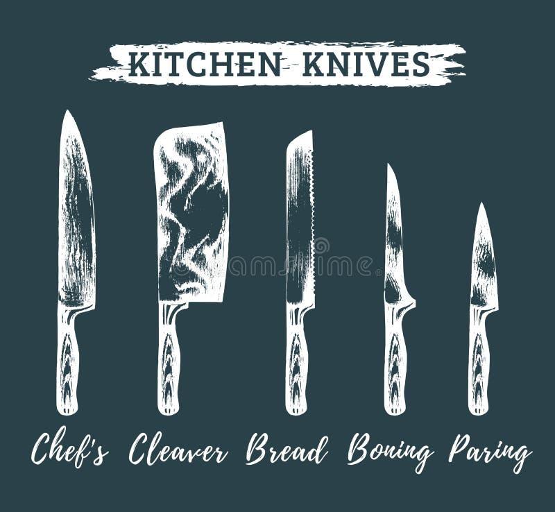 传染媒介手拉的厨房,被设置的厨师刀子 屠户工具例证 速写屠杀,餐馆等的汇集 库存例证