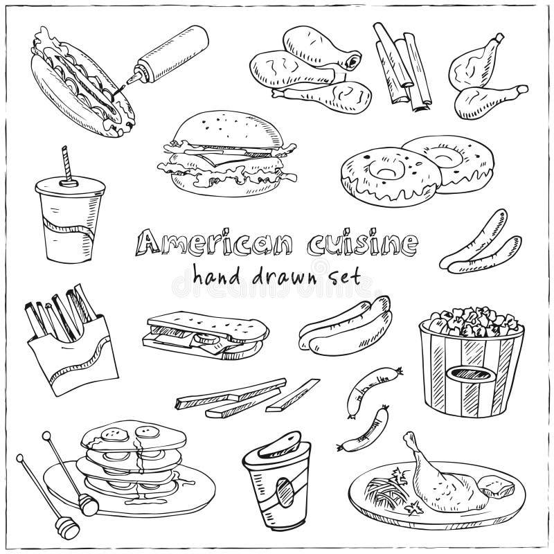 传染媒介手拉的套美国烹调 热狗,汉堡包和乳酪汉堡,三明治,牛排,香肠图片