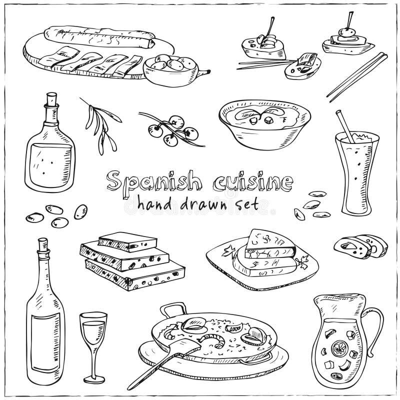 传染媒介手拉的套西班牙烹调 汤,在大蒜肉菜饭,膳食用米和海鲜的肝脏,油煎了曲奇饼churros 库存例证