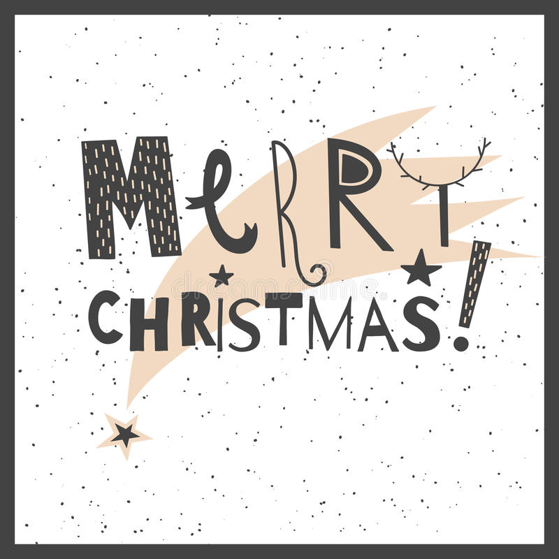 传染媒介手拉的字法标志圣诞快乐 向量例证