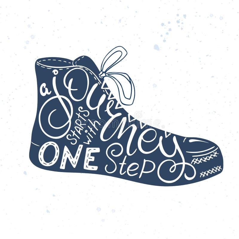 传染媒介手拉的字法行情-旅途开始以一步 这个词组适合入鞋子剪影 库存例证