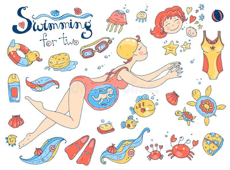 传染媒介手拉的收藏 小妈妈 游泳怀孕的图片