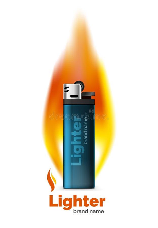 传染媒介打火机与橙色火焰的广告模板 向量例证