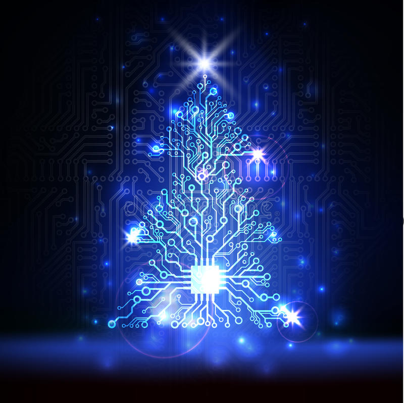 传染媒介技术圣诞树 向量例证