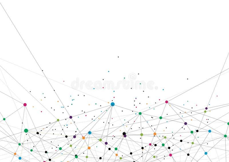 传染媒介技术概念 被连接的线和小点 网络标志 免版税库存照片