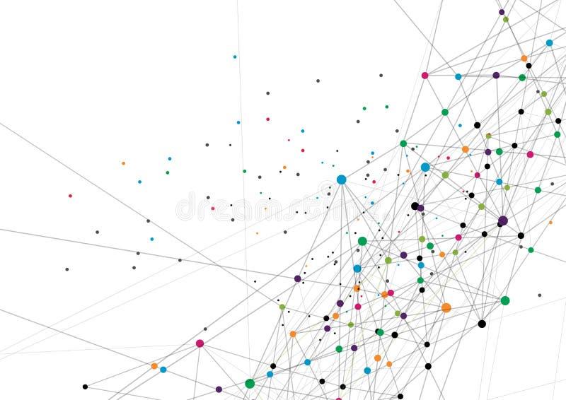 传染媒介技术概念 被连接的线和小点 网络标志 库存图片