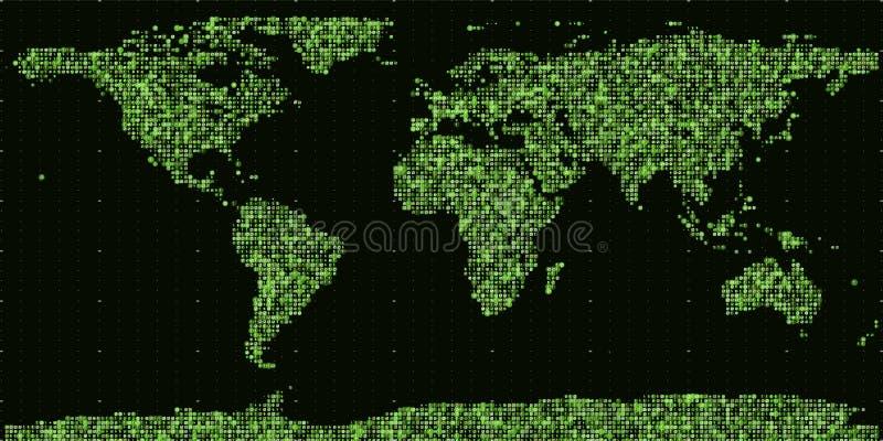 传染媒介抽象二进制世界地图 从绿色二进制数修建的大陆 全球信息网 皇族释放例证