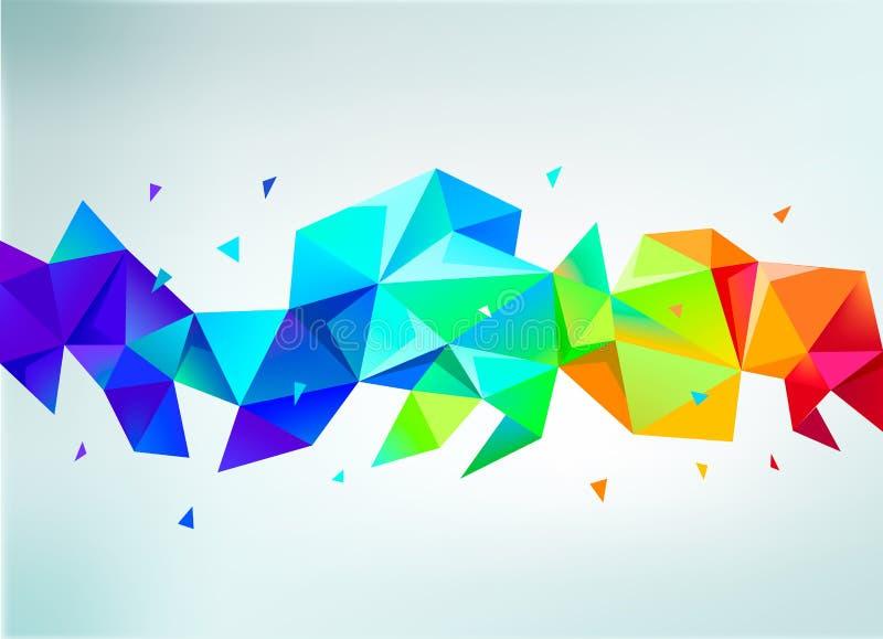 传染媒介抽象五颜六色的彩虹雕琢平面的水晶横幅 向量例证