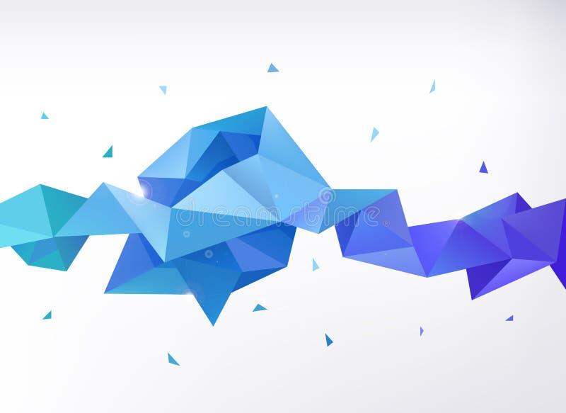 传染媒介抽象五颜六色的蓝色雕琢平面的水晶 库存例证