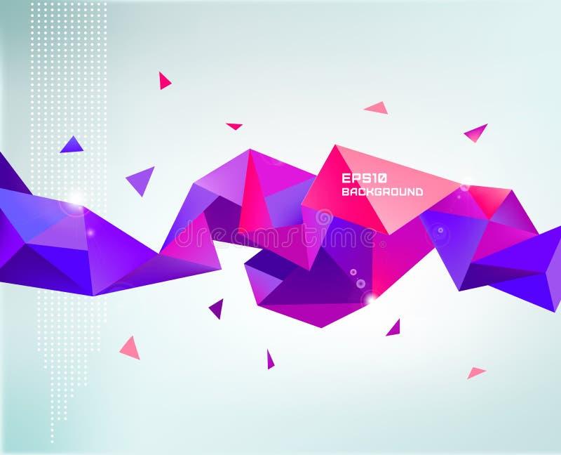传染媒介抽象五颜六色的紫色雕琢平面的水晶 库存例证