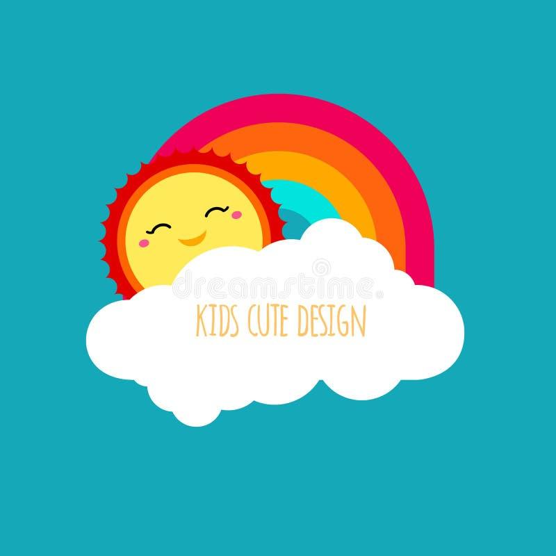 传染媒介抽象孩子逗人喜爱的设计元素 太阳形状,覆盖a 向量例证