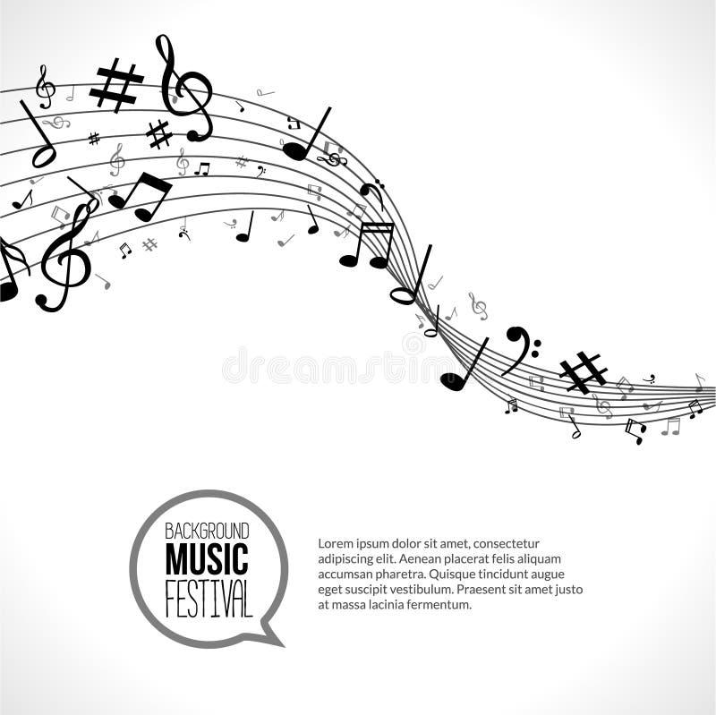 传染媒介抽象音乐笔记和线 在空白背景 音乐概念 库存例证