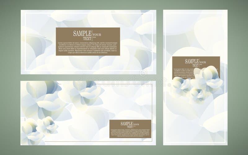 传染媒介抽象水彩花模板设计集合,茉莉花II 向量例证