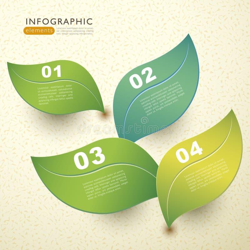 传染媒介抽象3d纸叶子infographics 库存例证