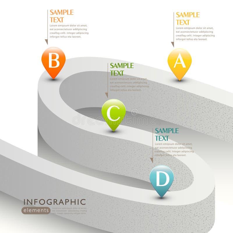 传染媒介抽象3d路infographics 库存例证