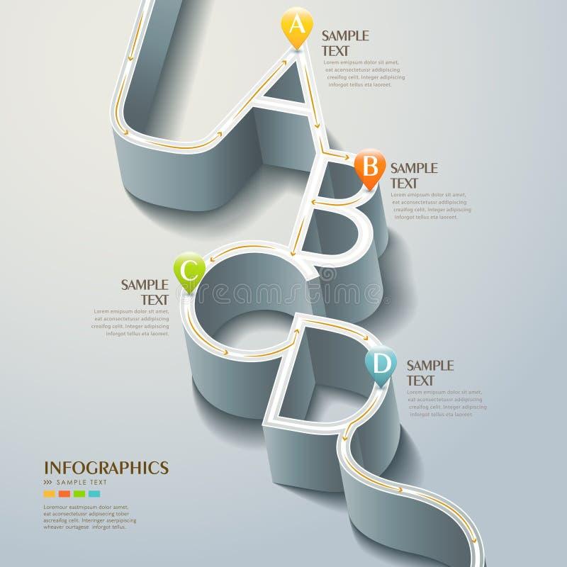 传染媒介抽象3d路infographics 向量例证