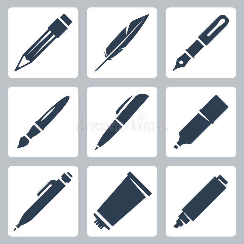 传染媒介文字和绘画被设置的工具象