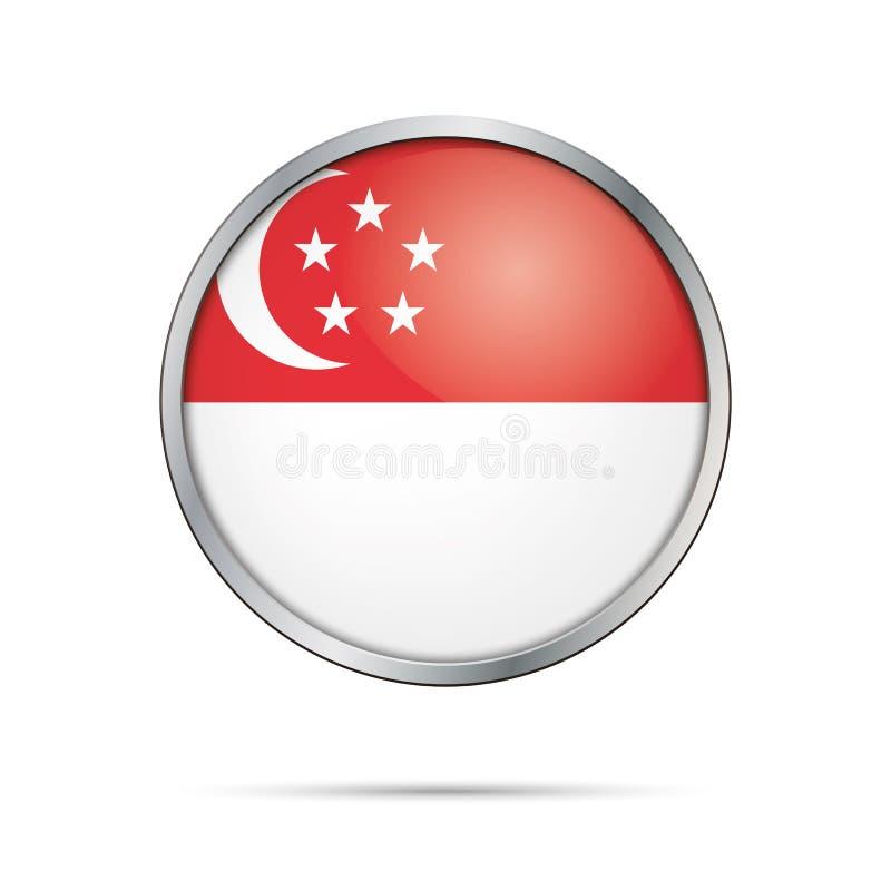 传染媒介新加坡旗子按钮 在玻璃按钮s的新加坡旗子 库存例证