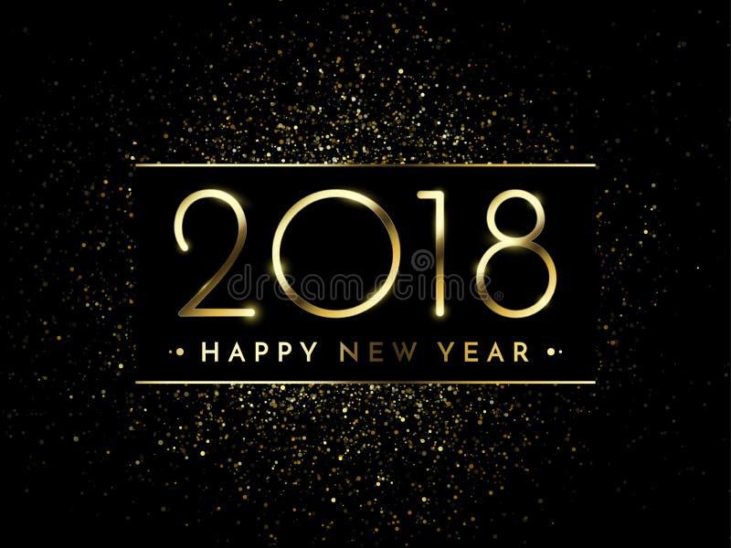传染媒介2018新年与金子闪烁五彩纸屑泼溅物纹理的黑色背景 向量例证