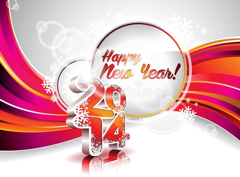 传染媒介新年快乐2014五颜六色的庆祝背景 向量例证