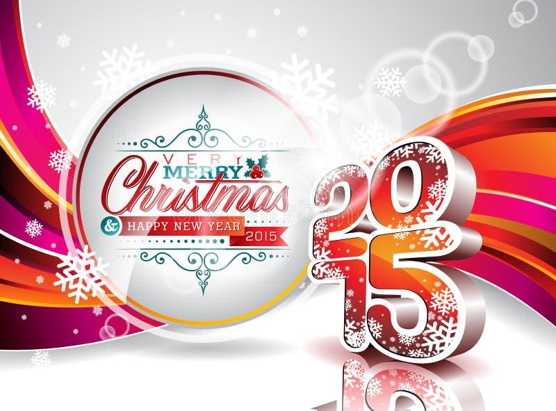 传染媒介新年快乐2015五颜六色的庆祝背景 向量例证