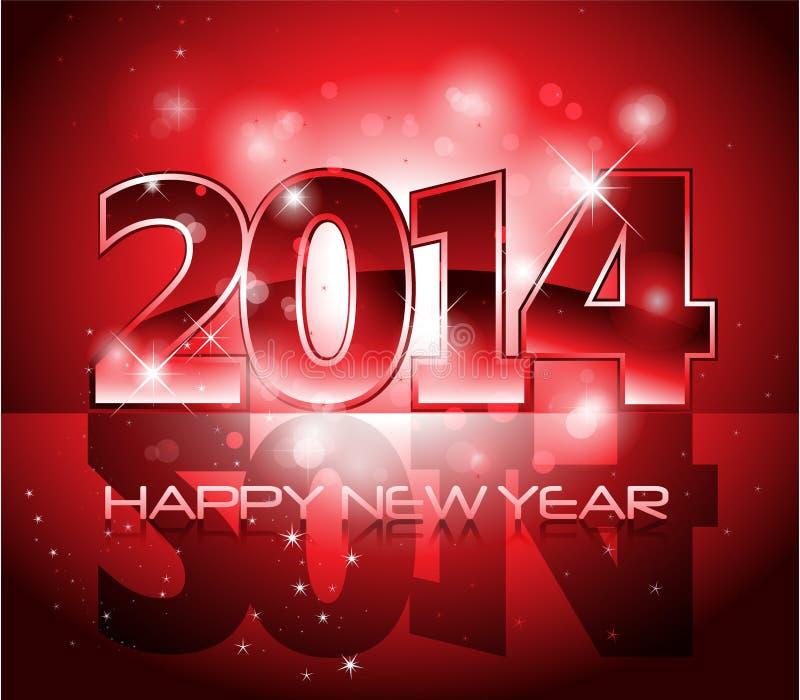 传染媒介新年快乐2014五颜六色的背景 库存例证