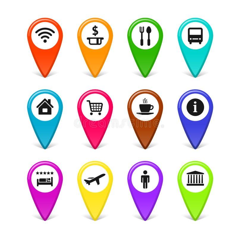 传染媒介旅行标志被设置的地图别针 向量例证