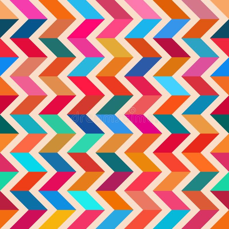 传染媒介无缝的五颜六色的之字形线明亮的多角形样式 向量例证