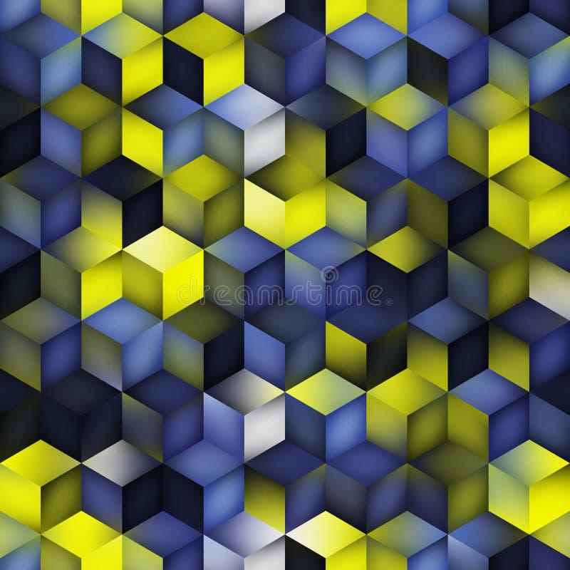 传染媒介无缝的多色蓝色黄色梯度立方体形状菱形栅格几何样式 库存例证