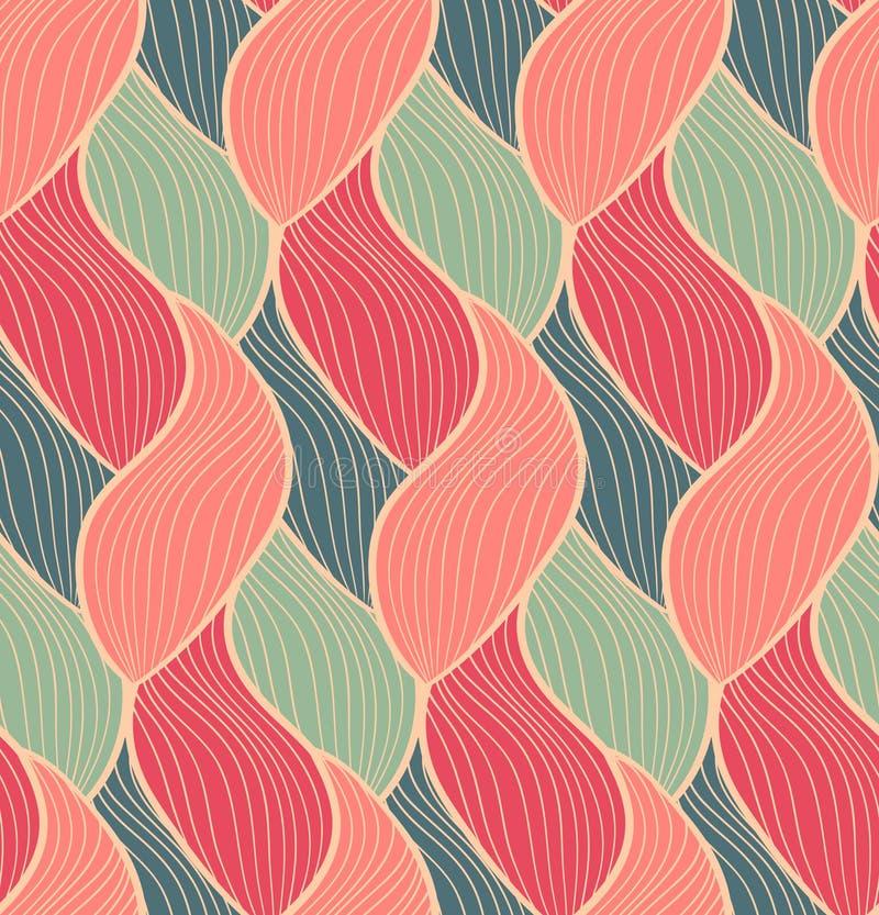 传染媒介无缝的手拉的波动图式 五颜六色的不尽的螺纹背景 皇族释放例证