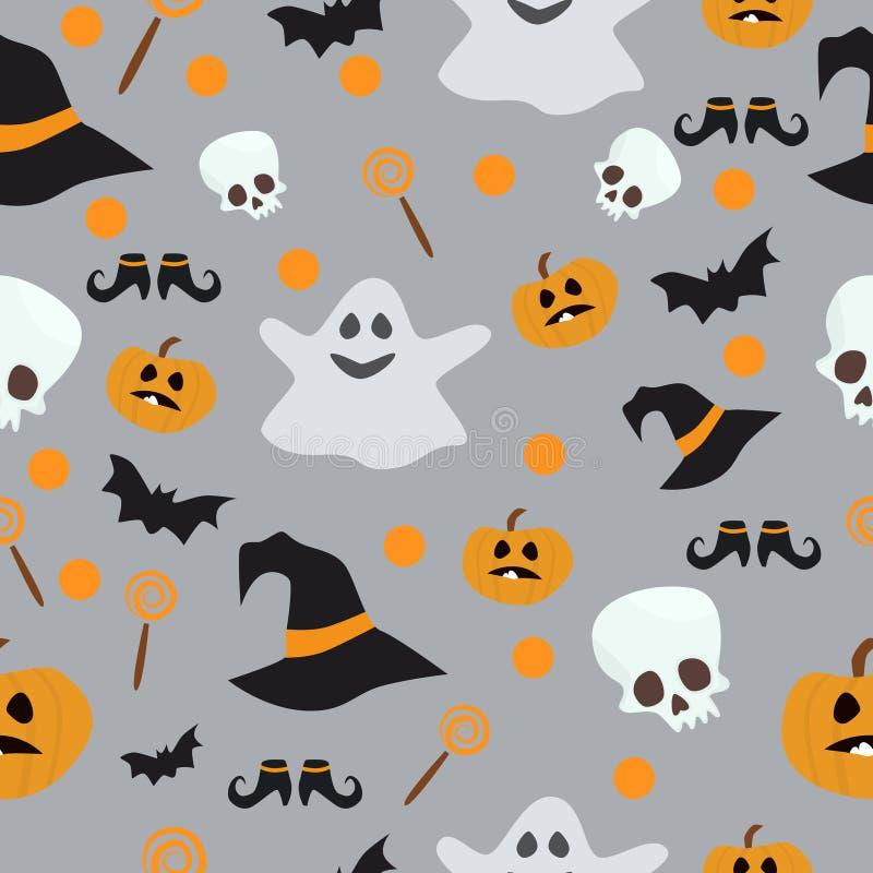 传染媒介无缝的样式为万圣夜 南瓜、鬼魂、棒、糖果和其他项目在题材 明亮的动画片 向量例证