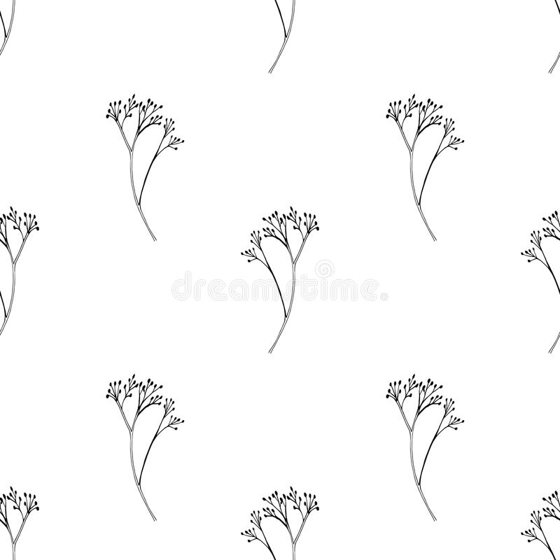 传染媒介无缝的样式用墨水手拉的草本 库存例证
