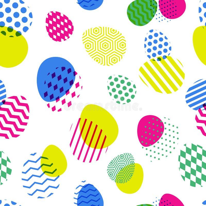 传染媒介无缝的样式用多色复活节彩蛋 创造性的几何背景 皇族释放例证