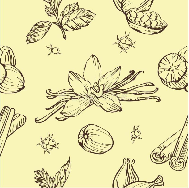 传染媒介无缝的样式用草本和香料 现代时髦的纹理 重复抽象背景 向量例证