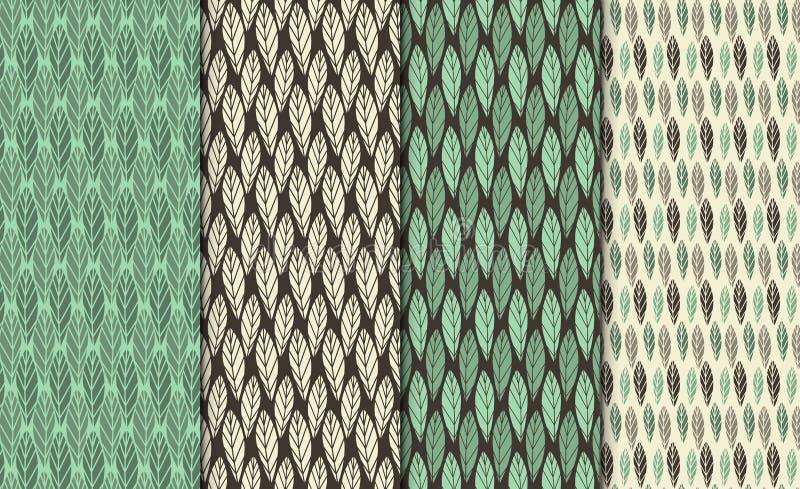 传染媒介无缝的样式集合 五颜六色的设计图象 装饰几何叶子 规则花卉背景与 库存例证