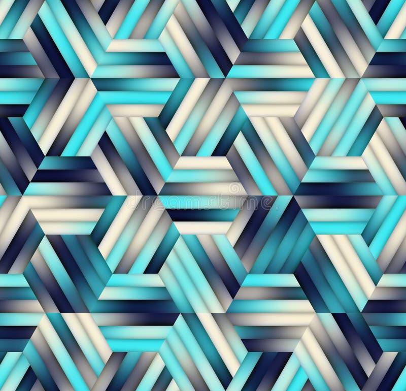 传染媒介无缝的梯度滤网颜色在藏青色树荫下镶边六角形栅格  库存例证