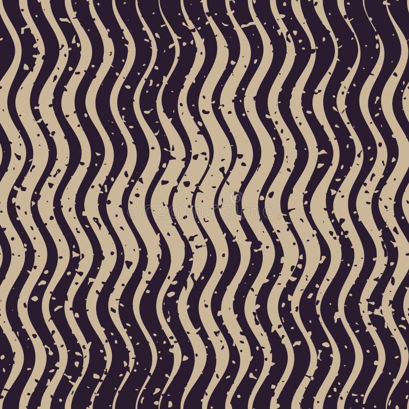 传染媒介无缝的海军灰色颜色手拉的概略的波浪线减速火箭的难看的东西样式 皇族释放例证