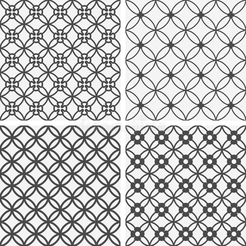 传染媒介无缝的盖瓦样式-几何花 向量例证
